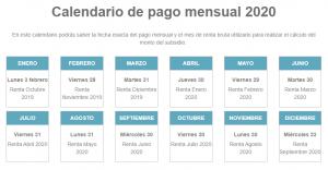 calendario pago mensual 2020 bono trabajo mujer