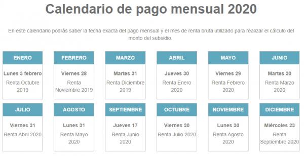 calendario de pago mensual 2020 btm